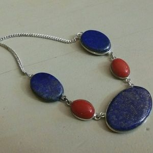 Lapis lazuli red coral necklace Sterling Silver
